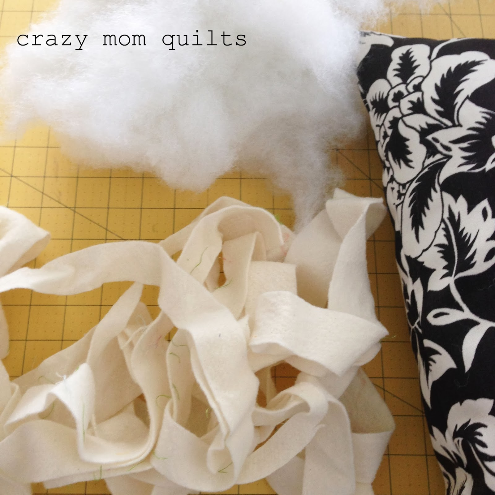 pillow stuffing and batting scraps